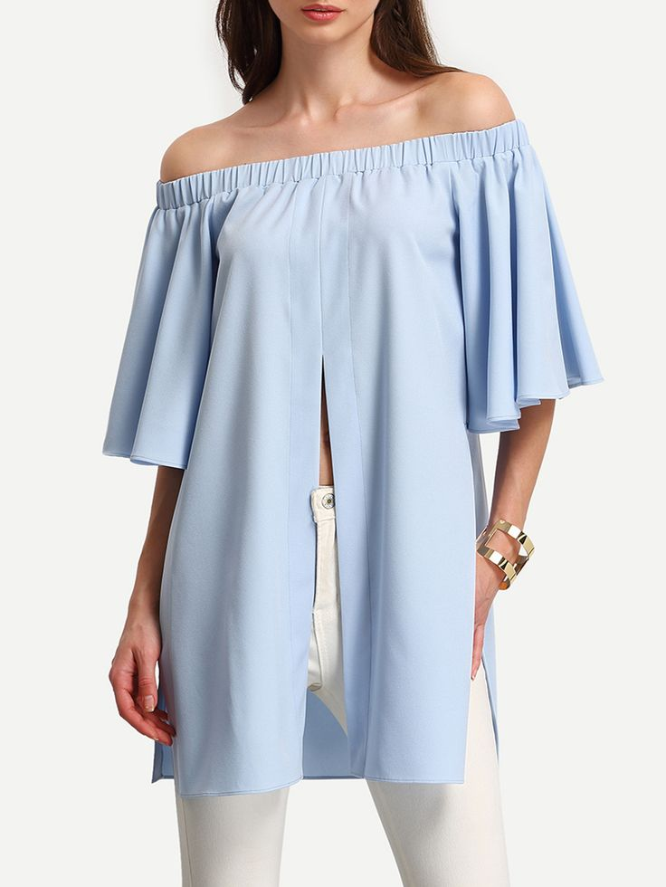 Shop Light Blue Off The Shoulder Split Blouse online. SheIn offers Light Blue Off The Shoulder Split Blouse & more to fit your fashionable needs.