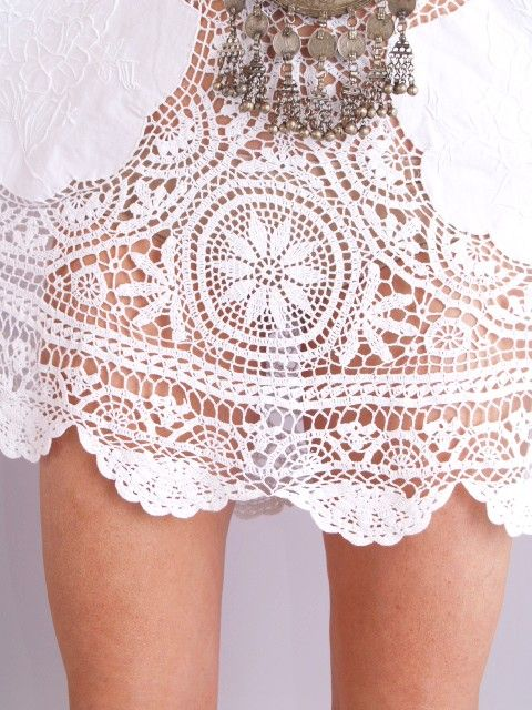 Vtg 70s Crochet Scallop Sheer Bell Cutout Mini Dress | eBay