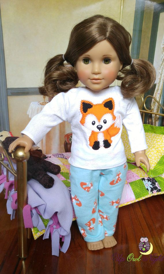 Cute fox pjs fit American Girl dolls from upowlnightcrafting