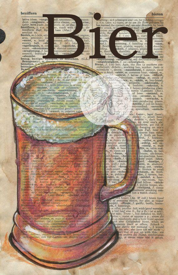 Druck: Bier gemischt Medien Zeichnung auf antike Wörterbuch Deutsch/Englisch