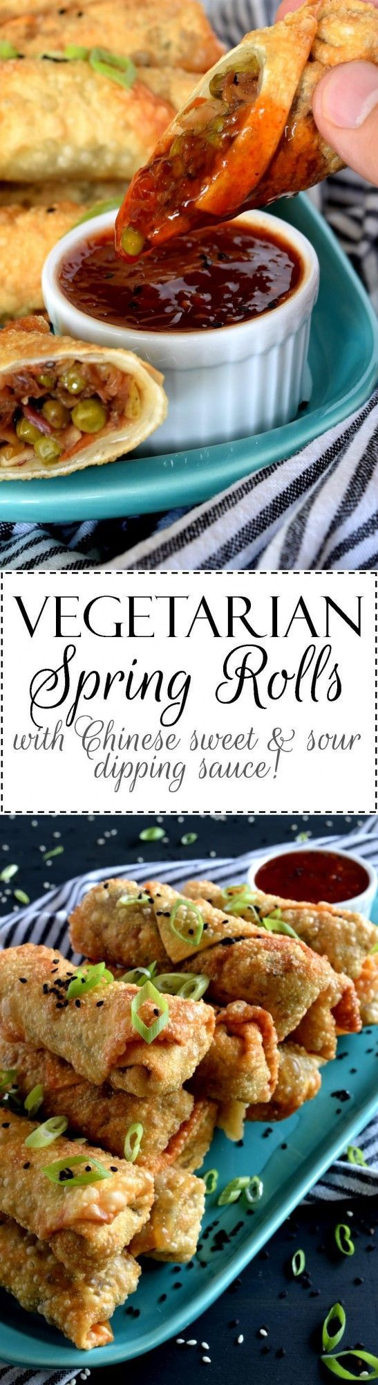 Vegetarian Spring Rolls are delicious and super easy to make.  Using store-bought coleslaw mix speeds up the prep time and gets these appetizers to the table in 25 minutes!  And, don't forget that sweet and sour dipping sauce with a mild kick from the chilies!