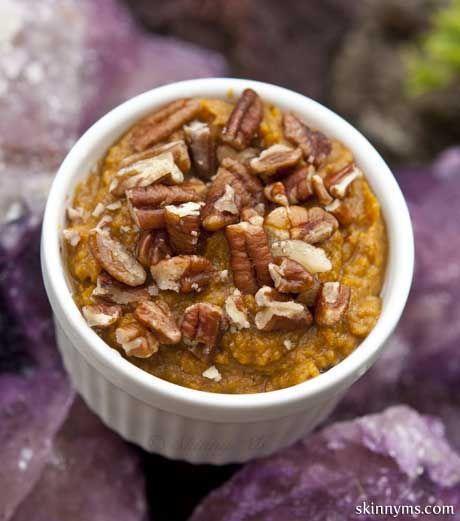 Slow Cooker Sweet Potato Mash is a tasty (and healthy) version of sweet potato casserole--YUM!  #sweetpotato #casserole #recipe