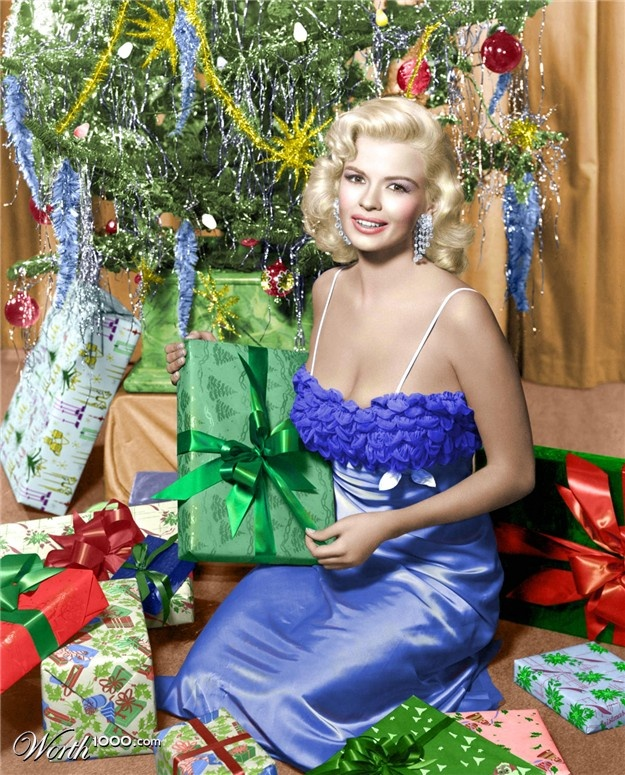 A Very Merry Christmas with Jayne Mansfield vintage celebrity photo