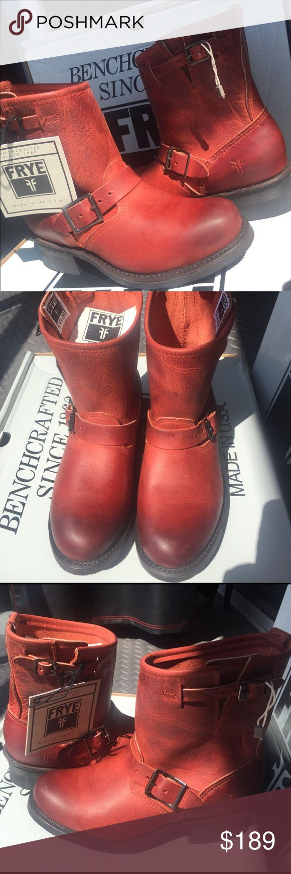 """FRYE ENGINEER 8""""R Brand new. Authentic. Perfect classic FrYE boots - amazing color Burnt Red Frye Shoes"""
