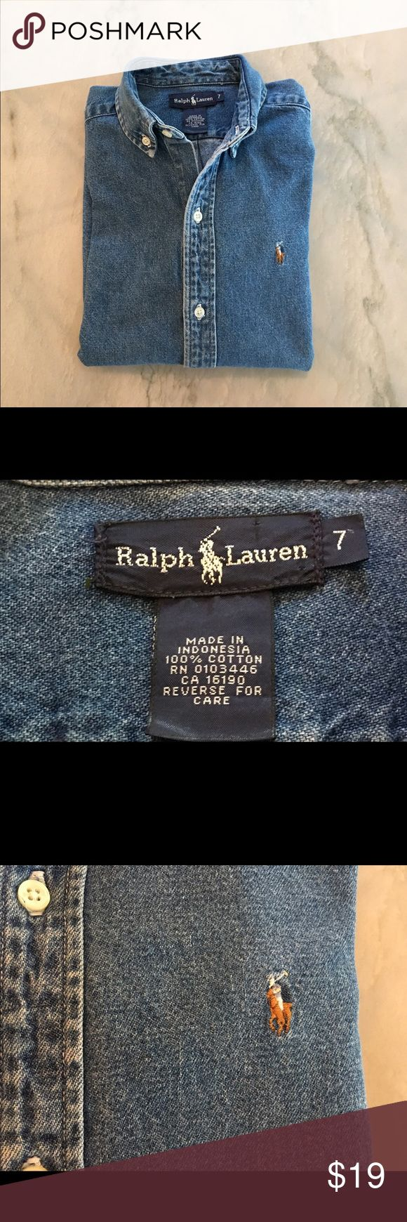 Ralph Lauren Boys L/S Denim Button Down In brand new like condition is a boys Ralph Lauren Denim Button Down. Button down point collar, long sleeves with Button cuffs, split yoke in the back with a box pleat that insures comfort and greater range of motion & last by not least RL signature Embroidered pony on the left chest Ralph Lauren Shirts & Tops Button Down Shirts