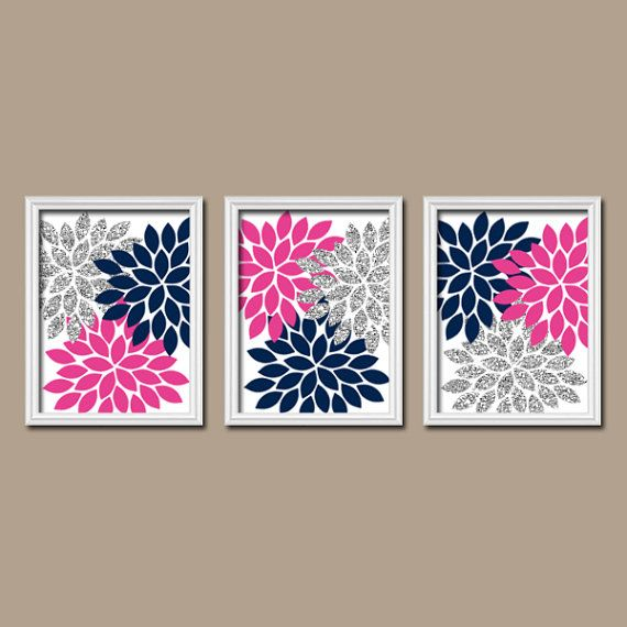 GLITTER Glam Hot Pink Navy Blue Flower Burst Dahlia Artwork Set of 3 Trio Prints Decor Abstract Picture Bedroom WALL ART Bathroom