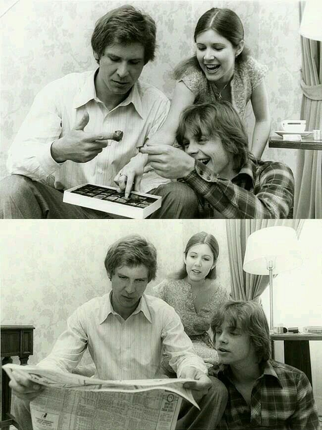 Harrison, Carrie & Mark in 1976 behind the scenes of Star Wars