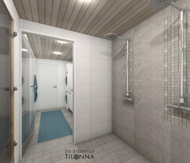 3D- visualisointi ja sisustussuunnittelu uudiskohteeseen/ Modernin rivitalon pesuhuone, vaaleaksi käsitelty kattopaneeli, mosaiikkia suihkujen takana, harmaa laatta 10x10 ja valkoinen laatta 30x60/ Keski-Suomen Rakennuskeskus, rivitalo Hollitaipaleentie 10, ennakkomarkkinointi/ 3D-sisustus Tilanna