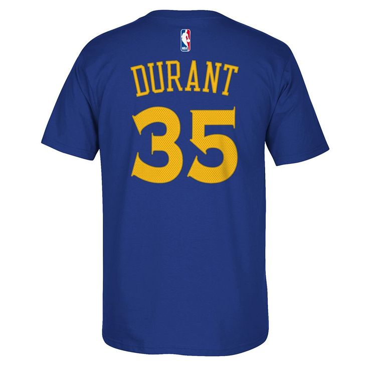 Men's Adidas Golden State Warriors Kevin Durant Player Name and Number Tee, Size: XL, Blue