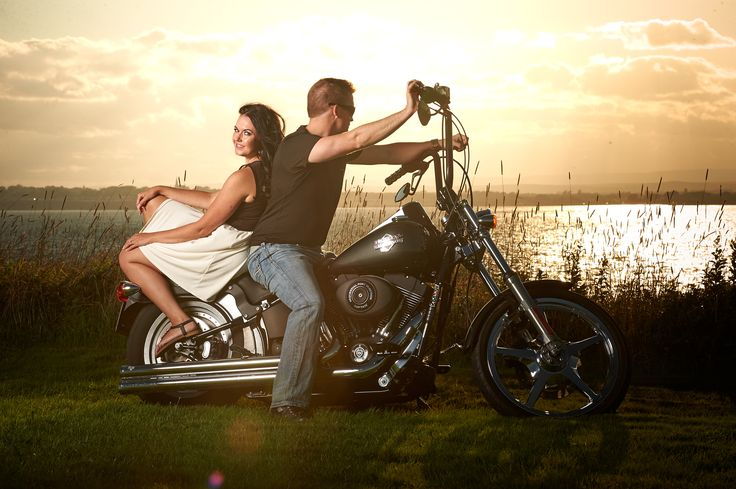 Beautiful Engagement photo with a Harley and dramatic lighting. http://www.bradwedgewoodphotography.com