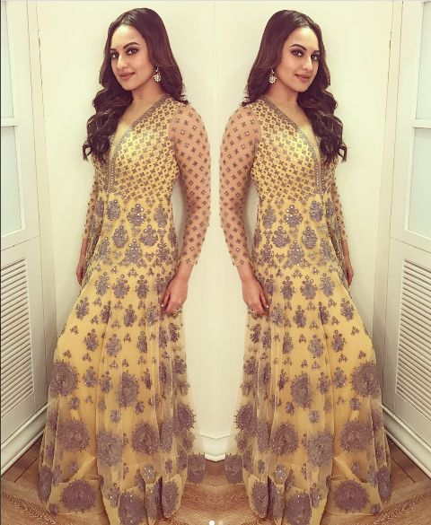 Sonakshi Sinha In An Embroidered Anarkali .For This Anarkali Mail Us At contact@ladyselection.com
