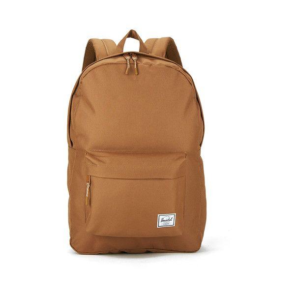 Herschel Classic Backpack - Caramel ($58) ❤ liked on Polyvore featuring bags, backpacks, top handle bag, brown backpack, colorblock bag, herschel and rucksack bag