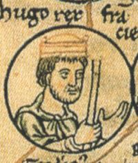 My 33rd Grandfather. King of France, Hugh Capet. Born in 939 on the Ile-de-France, Paris. Death - 24 Oct 996 in Chartres, Ille-et-Vilaine, Bretagne, France. Most historians regard the beginnings of modern France with the coronation of Hugh Capet. This is because, as Count of Paris, he made the city his power centre.