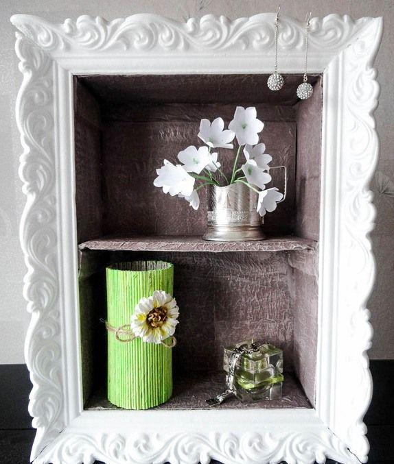 cheap DIY home decor idea shelf cardboard styropor crown molding