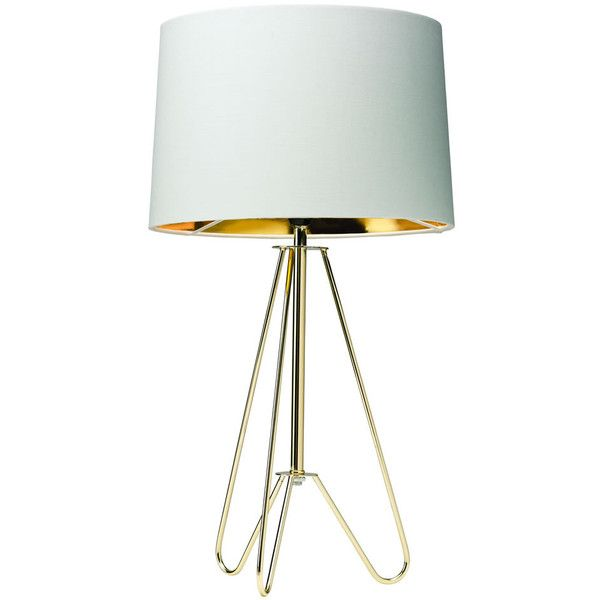 Ziggy Table Lamp Cream and Gold (€33) ❤ liked on Polyvore featuring home, lighting, table lamps, halogen lamp, metallic lamp, gold table lamp, tripod lamps and alabaster table lamp