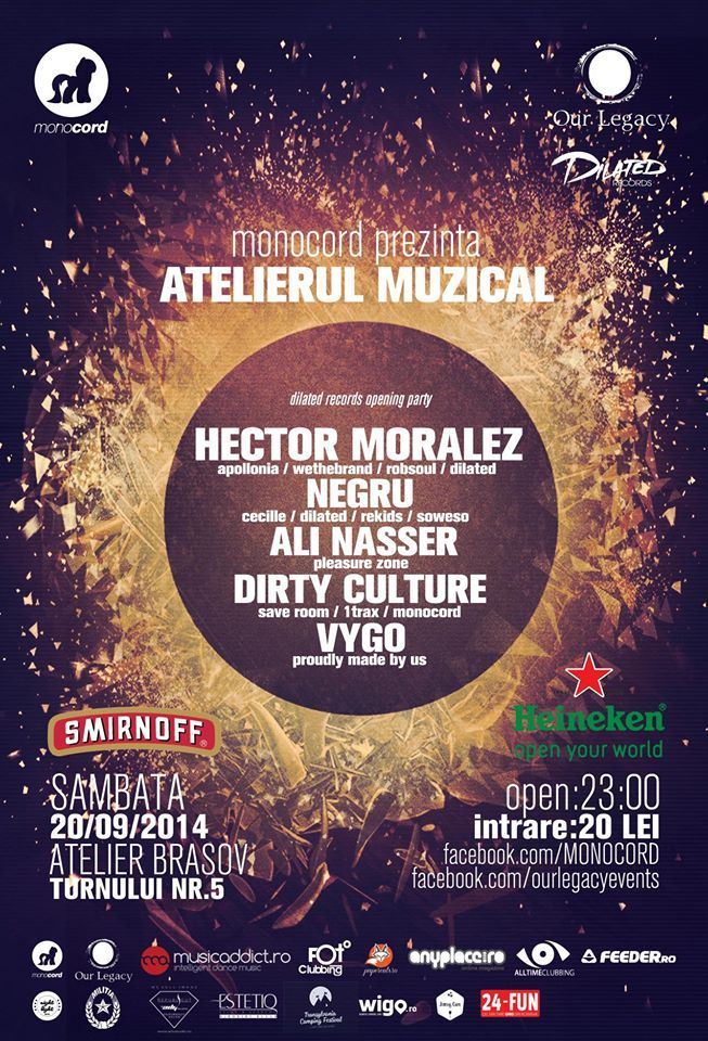Atelierul Muzical cu Hector Moralez // Negru // Ali Nasser // Dirty Culture // Vygo  by Monocord.  https://www.facebook.com/events/361960910621100/