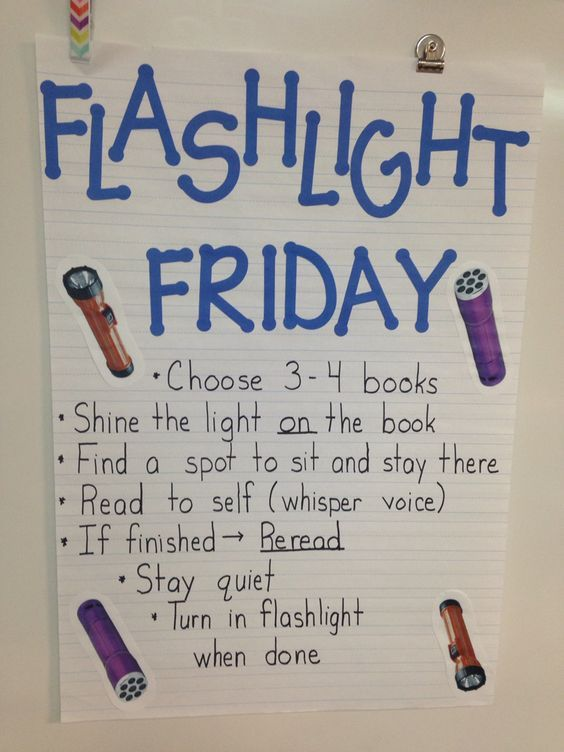 Silent reading on Fridays with the light off. My kids love Flashlight Friday.: