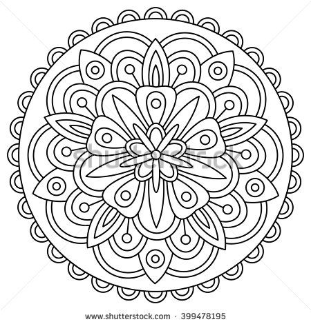 Mandala. Black and white round ornament. Coloring page. Vector illustration.