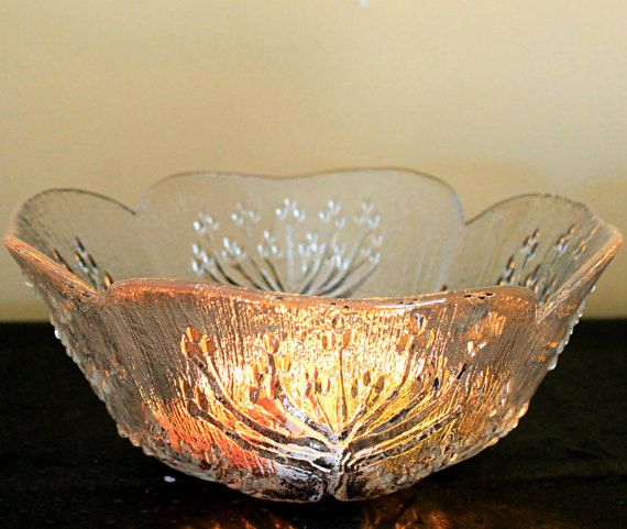 Vintage Lasisepat Textured Glass Salad Bowl by MillyCatVintage
