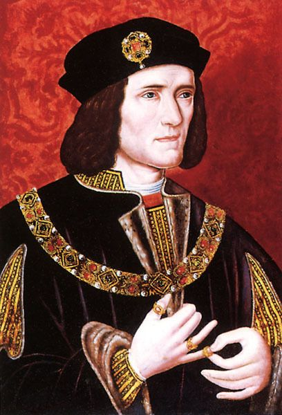 King Richard III of England.tousling his pimp pinky ring. (Henry VII-founder of the Tudor dynasty, father of Henry VIII, killed King Richard III at the Battle of Bosworth then married Richard's niece Elizabeth. King Richard III skeleton just found)
