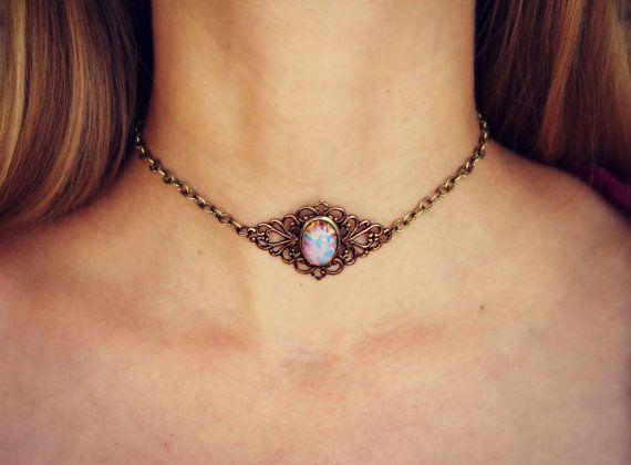 Rosa retractor de ópalo ópalo retractor collar de por alapopjewelry
