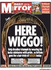 Daily Mirror shows support for Bradley Wiggins with cut-out hair and an apt pun: Here Wiggo!