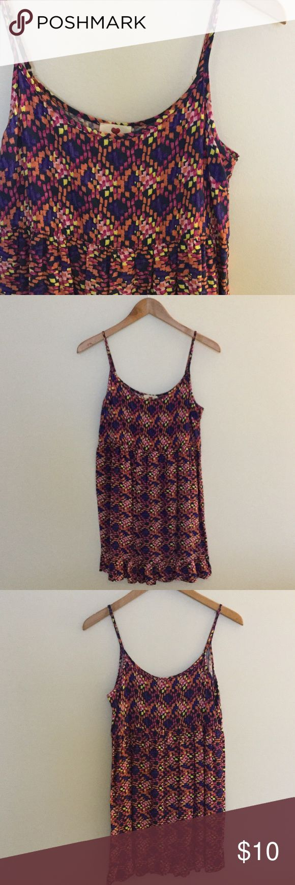 """Colorful Printed Spaghetti Strap Dress Ruffled bottom, so cute. Adjustable straps.from middle of the neck, 24"""" long. Armpit to armpit is about 16"""" one clothing Dresses Mini"""