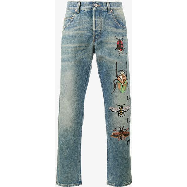 Gucci Tapered Jeans With Insect Embroidery (€900) ❤ liked on Polyvore featuring men's fashion, men's clothing, men's jeans, blue, mens embroidered jeans, mens slim fit tapered jeans, mens tapered jeans, mens button fly jeans and mens zipper jeans