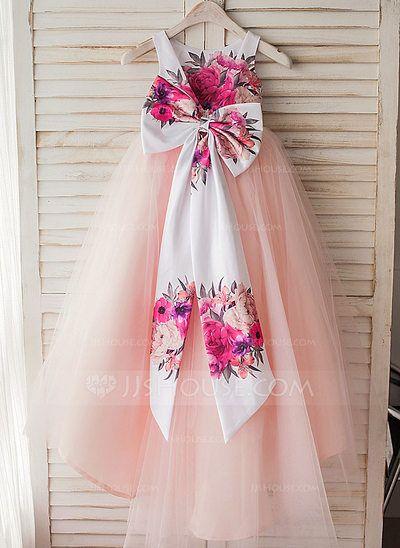 [US$ 69.99] A-Line/Princess Tea-length Flower Girl Dress - Satin/Tulle Sleeveless Scoop Neck With Bow(s)/V Back