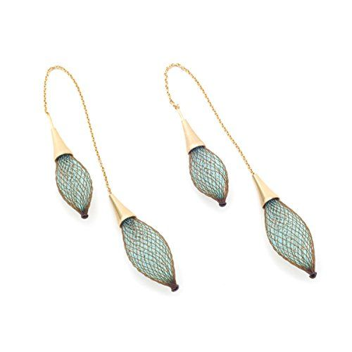 Aqua and Rust Double Threader Earrings by Vlum