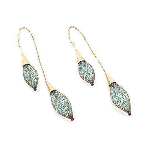 Aqua and Rust Double Threader Earrings by Vlum
