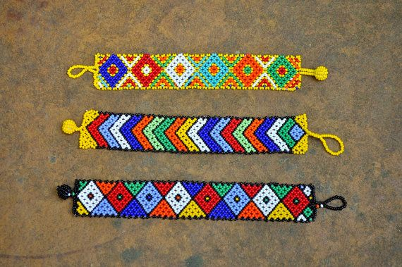 3 Tribal bracelets (African, beaded, multicolored)