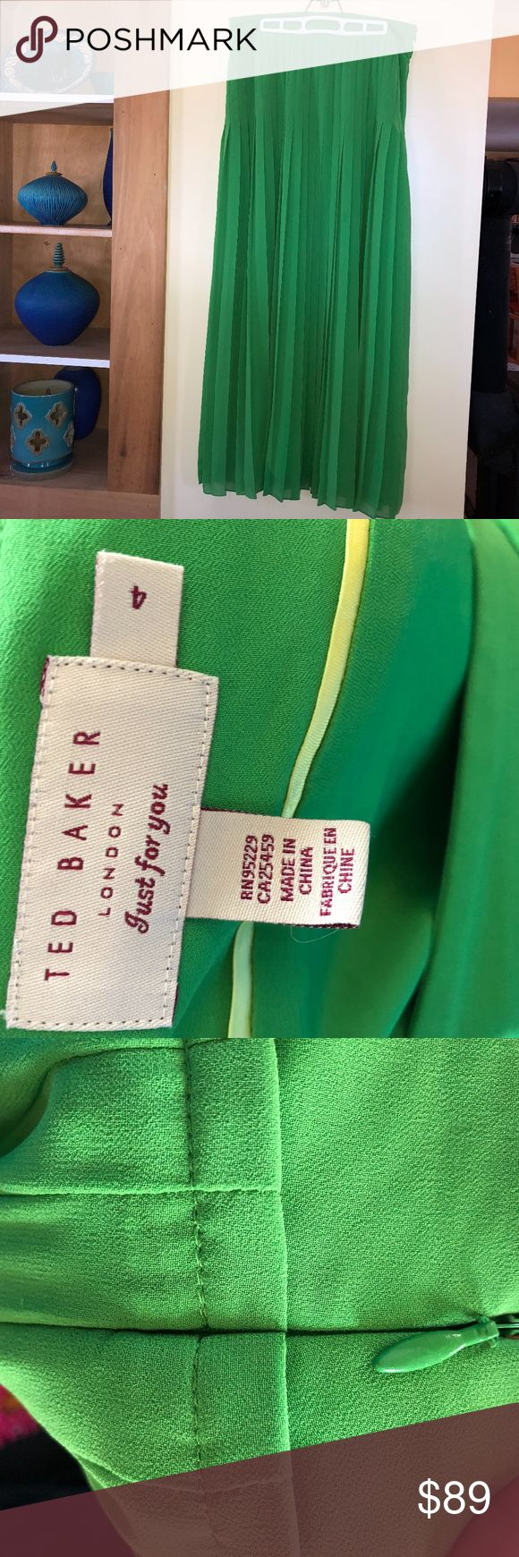 "TED BAKER (London) long pleated green maxi skirt Ted Baker/London pleated maxi skirt.  size reads 4 but in my opinion this fits more like a 10 or even a 12  so PLEASE go by measurements to be sure of fit/size.  It is also quite long so if you are shorter you will need to have it hemmed.   waist-16.5""      42.5"" long  Polyester.   Lined.  pleats are flat at top so slimming. Ted Baker Skirts Maxi"