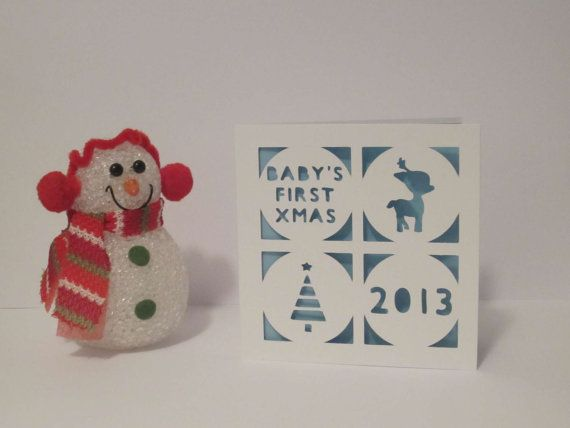 Baby's First Christmas papercut personalised card