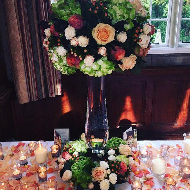 We are all set up @tylneyhallgardens for the @luxuryweddingshow today 11am-3pm #weddings #hampshire #weddinginspiration #tabledecor #roses #hydrangea