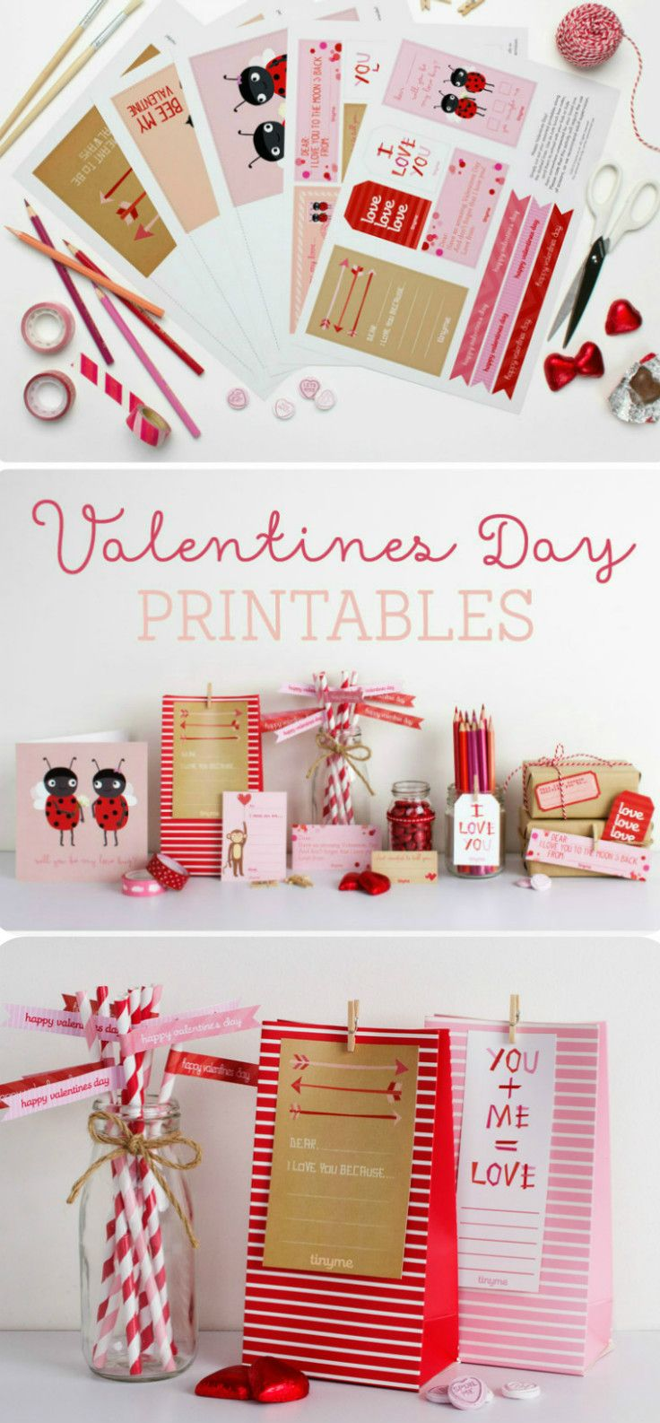 free Valentines Printables to make Valentines day cards, or Valentines lunch box notes and more