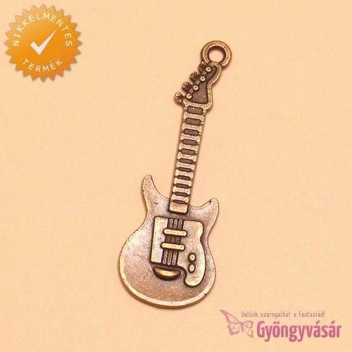 Rézszínű elektronikus gitár - nikkelmentes fém zsuzsu / fityegő • Gyöngyvásár.hu