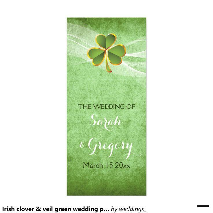 #Irish #clover and veil green #wedding #progam