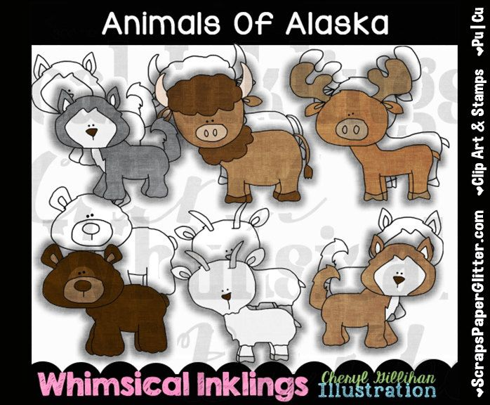 Animals Of Alaska Clip Art, BONUS Lineart, Digital Stamps, Clipart, Black and White, Line Art, Commercial Use, Buffalo, Bear, Wolf, Moose by ResellerClipArt on Etsy