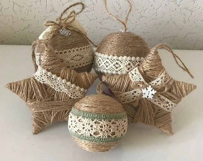 Set of 6 twine Christmas tree ornaments for rustic country home decoration Farmhouse decor Pine cone and winter berry ornament Xmas gift