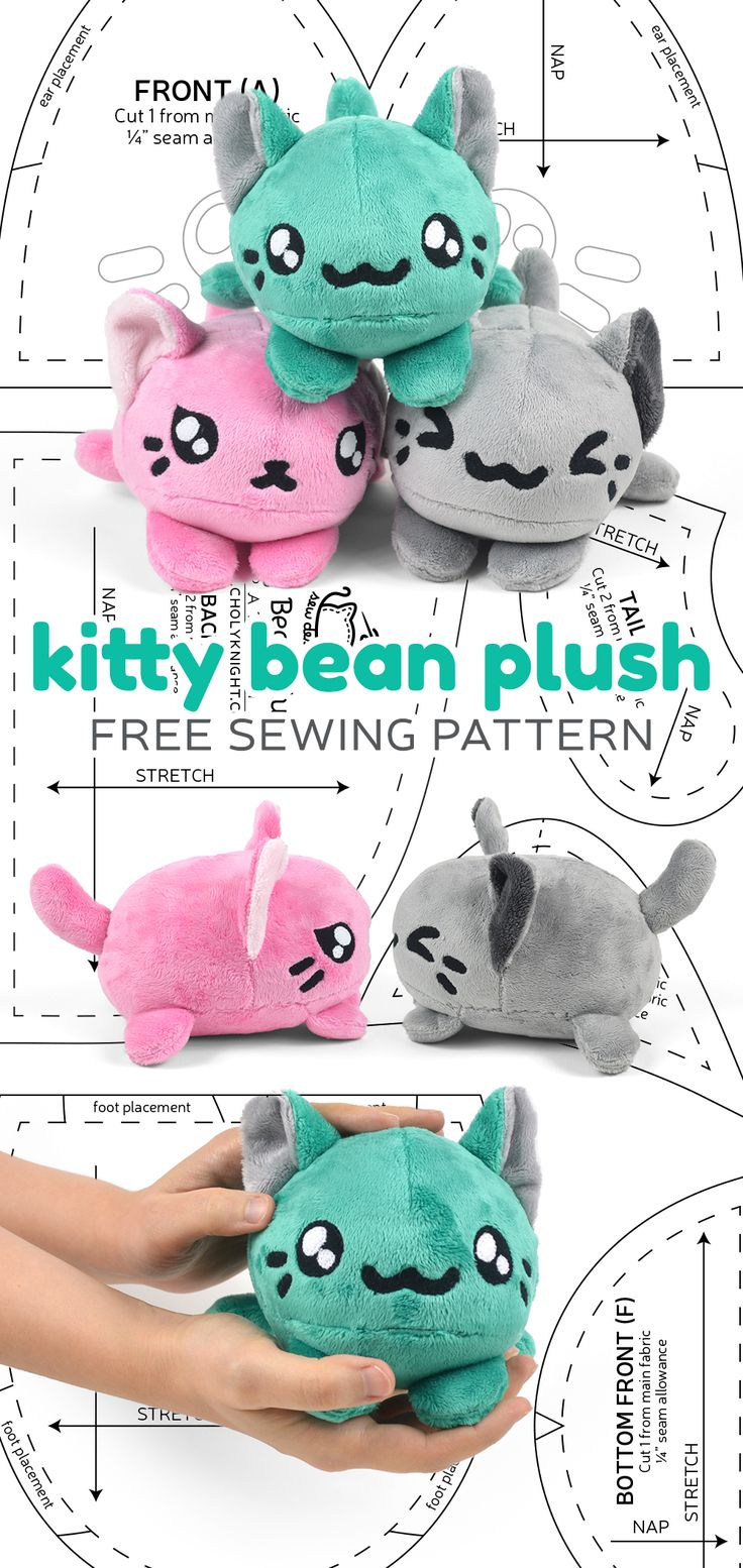 Free sewing pattern: Make a cute, stackable, tsum-tsum style plush with a sweet bean-shaped body ♥