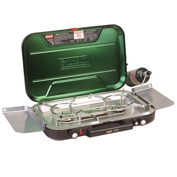 Even-Temp(TM) Propane Stove - 3-BurnerThe Coleman 3-Burner Propane Stove is a smart choice to bring along on a camping trip. This Coleman Propane Stove features an aluminized steel cooktop with two 11,500 BTU burners and a single 5,000 BTU burner. Its battery electronic ignition makes the Coleman Propane Stove easy to light because it does not require matches. The Coleman 3-Burner stove offers a high-pressure regulator that provides a constant output of propane regardless of the weather…