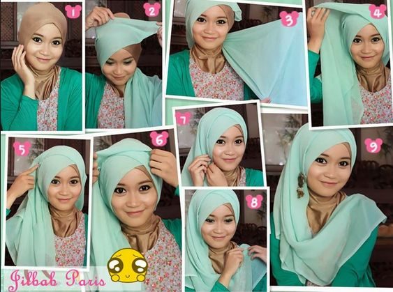 Tutorial Hijab For The Party batik-with blue hijab