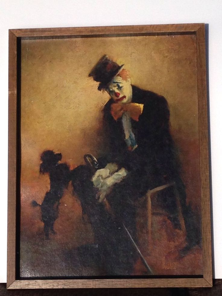 Runci Painting Clown With Black Poodle Mid Century Oil Canvas Framed