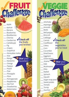 Fruit And Veggie Challenge Bookmarks 6 95 Healthy Kids