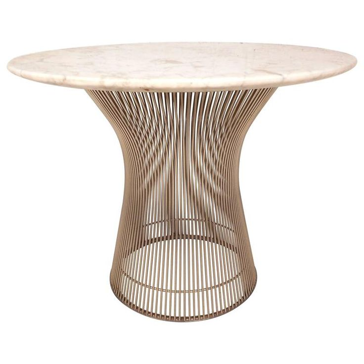 Mid-Century Modern Marble-Top End Table by Warren Platner | From a unique collection of antique and modern side tables at https://www.1stdibs.com/furniture/tables/side-tables/