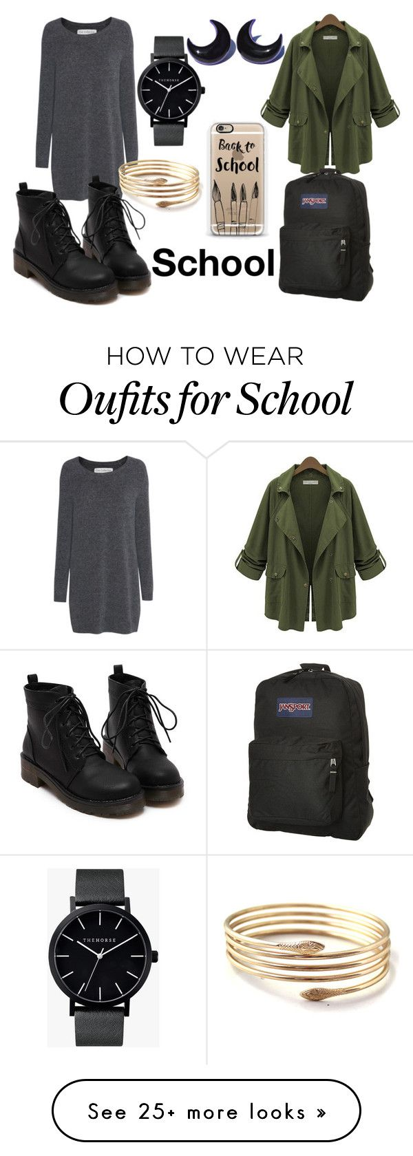 """""""back to school #1"""" by lilyrose-fowler on Polyvore featuring Fine Collection, The Horse, Casetify and JanSport"""