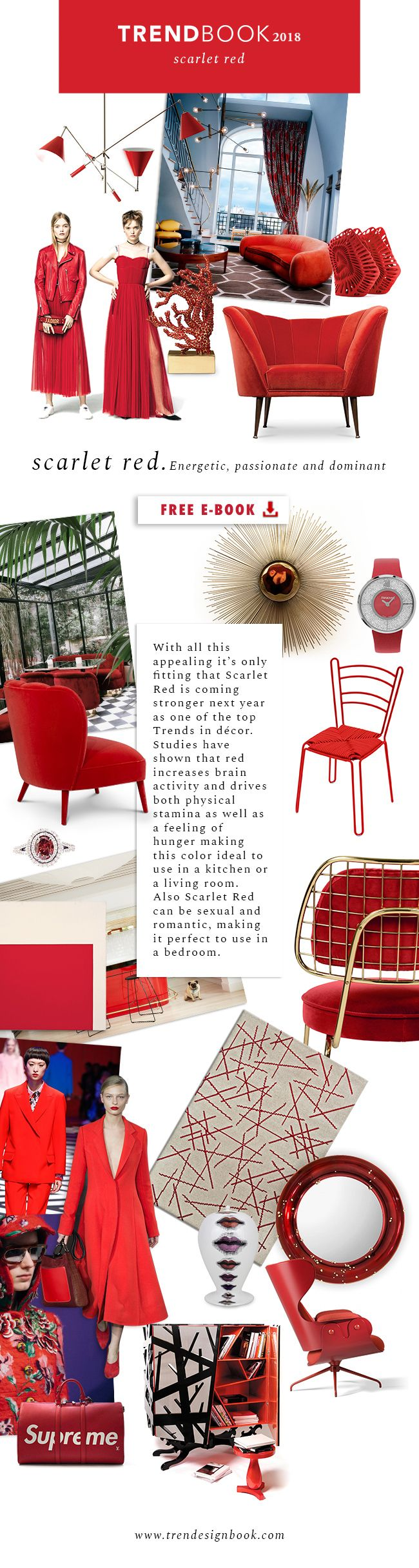 Moodboard Color Trends 2018. How to use Scarlet Red in your home decor