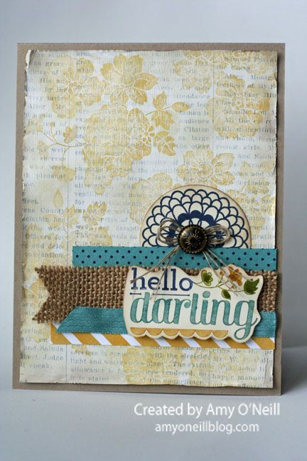 Hello Darling. Love the vintage feel of this card.Darling Typesetting, Darling Newsprint, Cards Ideas, 1 Cards 'Generation, Hello Darling, Cards Just, Stampin Up, 2014 2015, Darling Stampin