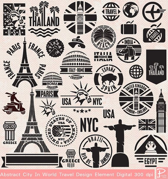 INSTANT DOWNLOAD Travel World Silhouette Clipart Digital Commercial Personal use scrapbook invitation cards,  cpA647 - Buy 1 Get 1 Free